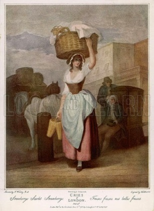 A woman balancing a large basket of fruit on her head cries 'Scarlet strawberries' for sale. Date 1795.